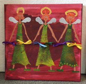 3 singende Engel auf Leinwand