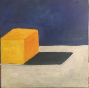 Würfel in Gelb mit Schatten